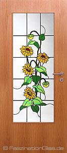 im landhausstil sonnenblumen aus bleiverglasung f r innent ren. Black Bedroom Furniture Sets. Home Design Ideas